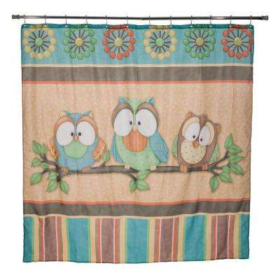 Who's Hoo 72 in. Multicolored Shower Curtain