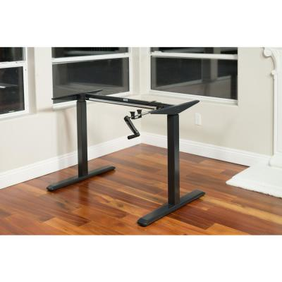 Black Adjustable Height Crank Desk Frame (Table Top Not Included)