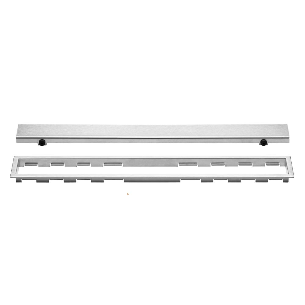 Schluter Kerdi Line Brushed Stainless Steel 31 1 2 In Closed Grate Assembly With 3 4 In Frame Kl1ar19eb80 The Home Depot