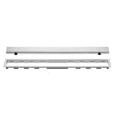 Kerdi-Line Brushed Stainless Steel 31-1/2 in. Closed Grate Assembly with 3/4 in. Frame