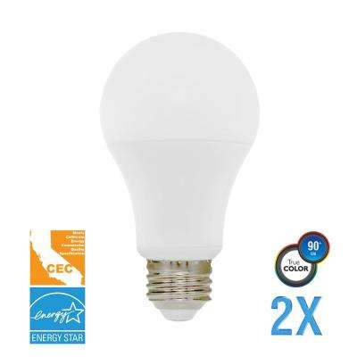 40W Equivalent Soft White A19 Dimmable LED CEC-Certified Light Bulb (2-Pack)