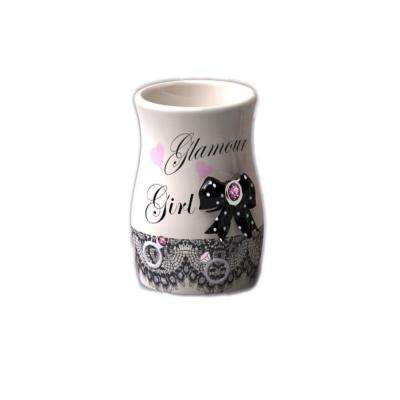 Glamour Girl 3 in. Tumbler in Pearl with Pink and Black Details