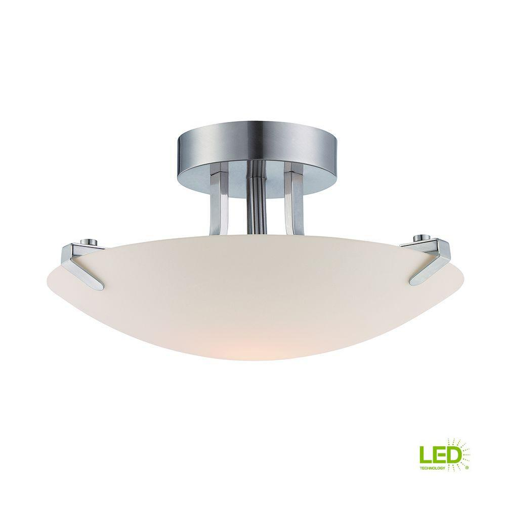 Archer LED Satin Platinum Semi-Flush Mount Light