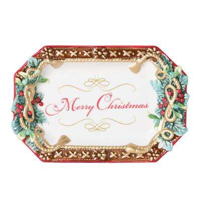 Yuletide 7 in. W x 1.5 in. H x 11 in. D Holiday Appetizer Tray