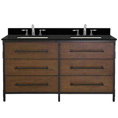 Grandburgh 61 in. W x 22 in. D Bath Vanity in Coffee Swirl with Granite Vanity Top in Black with White Sinks