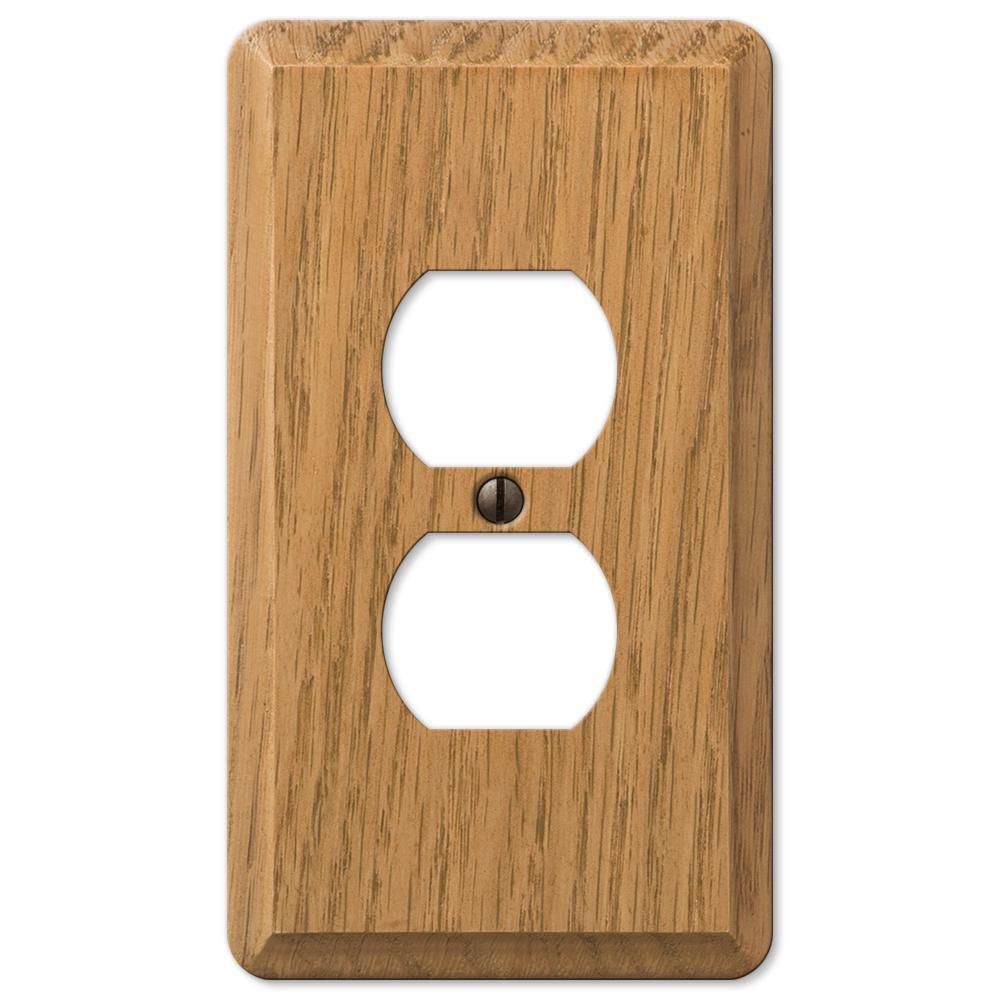 Contemporary 1 Gang Duplex Wood Wall Plate - Light Oak