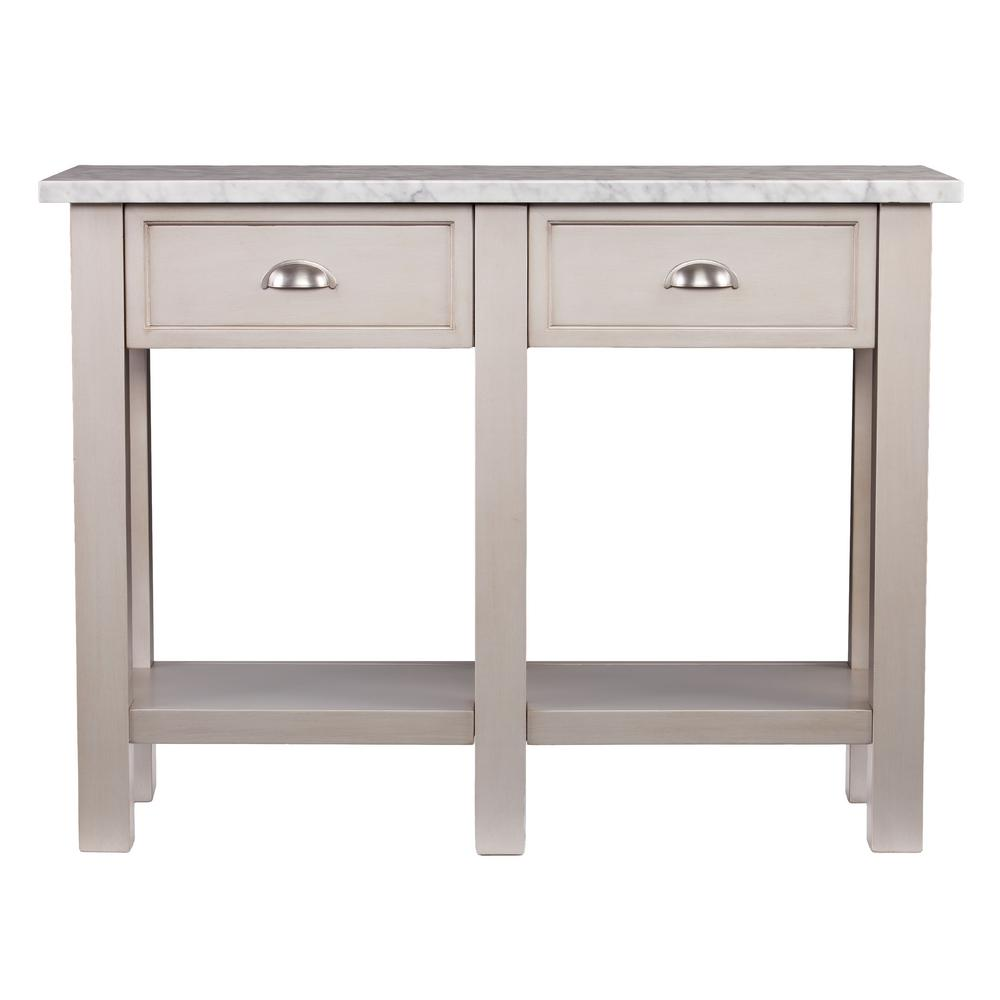 Southern Enterprises Bella Warm Gray Faux Marble Console Table