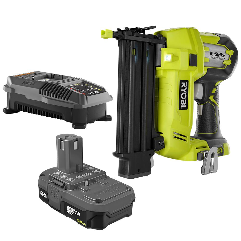 RYOBI 18-Volt ONE+ Lithium-Ion Cordless AirStrike 18-Gauge Brad Nailer with (1) 1.5 Ah Battery and (1) 18-Volt Charger