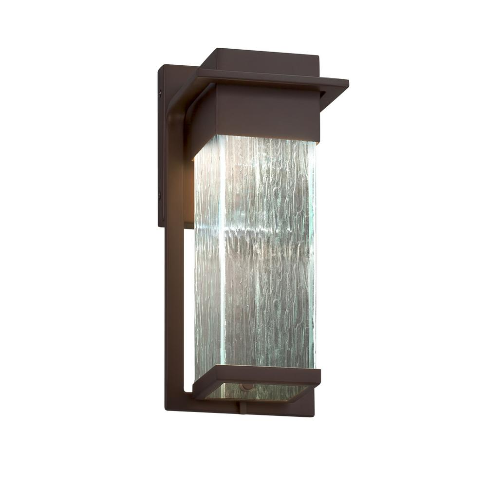 Justice Design Fusion Pacific Dark Bronze Outdoor Integrated LED Wall Lantern Sconce with Rain Shade