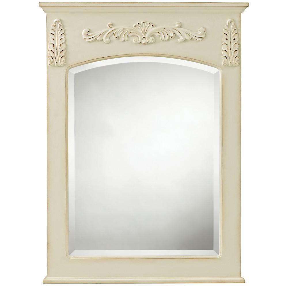 18.9 in. W x 24.9 in. H Framed Rectangular  Bathroom Vanity Mirror in Antique White