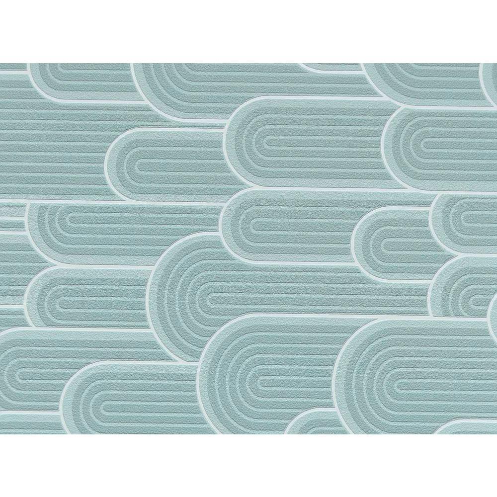 Blue Retro Geometric Hills Wallpaper