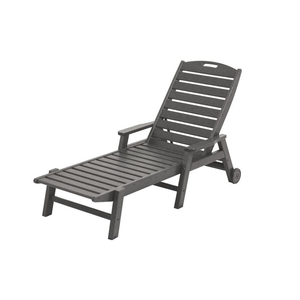 outdoor chaise lounge chairs with wheels. polywood nautical slate grey wheeled plastic outdoor patio chaise lounge-ncw2280gy - the home depot lounge chairs with wheels e