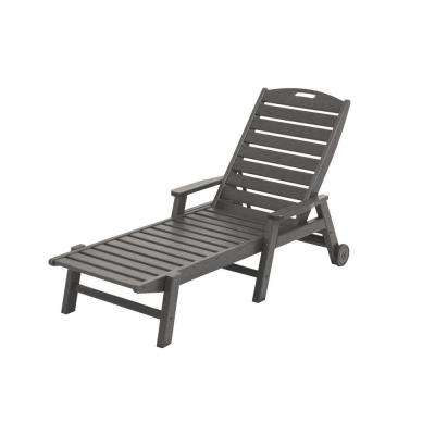 Nautical Slate Grey Wheeled Plastic Outdoor Patio Chaise Lounge
