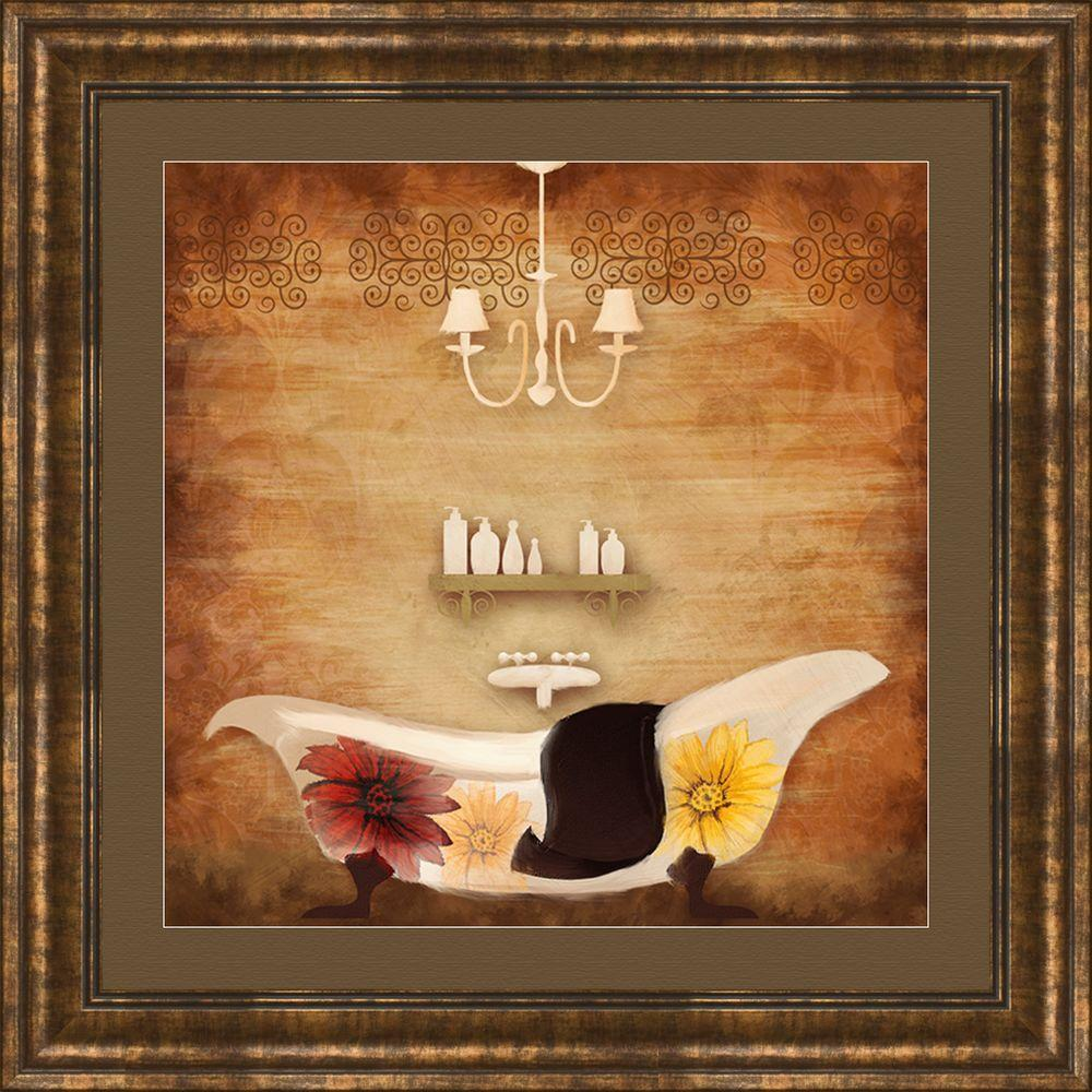 "PTM Images 17-1/4 in. x 17-1/4 in. ""Poppy Bath A"" Framed Wall Art"