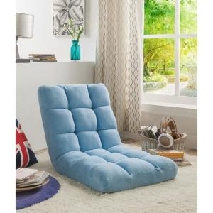 Microplush Blue Quilted Folding Gaming Chair Floor Recliner