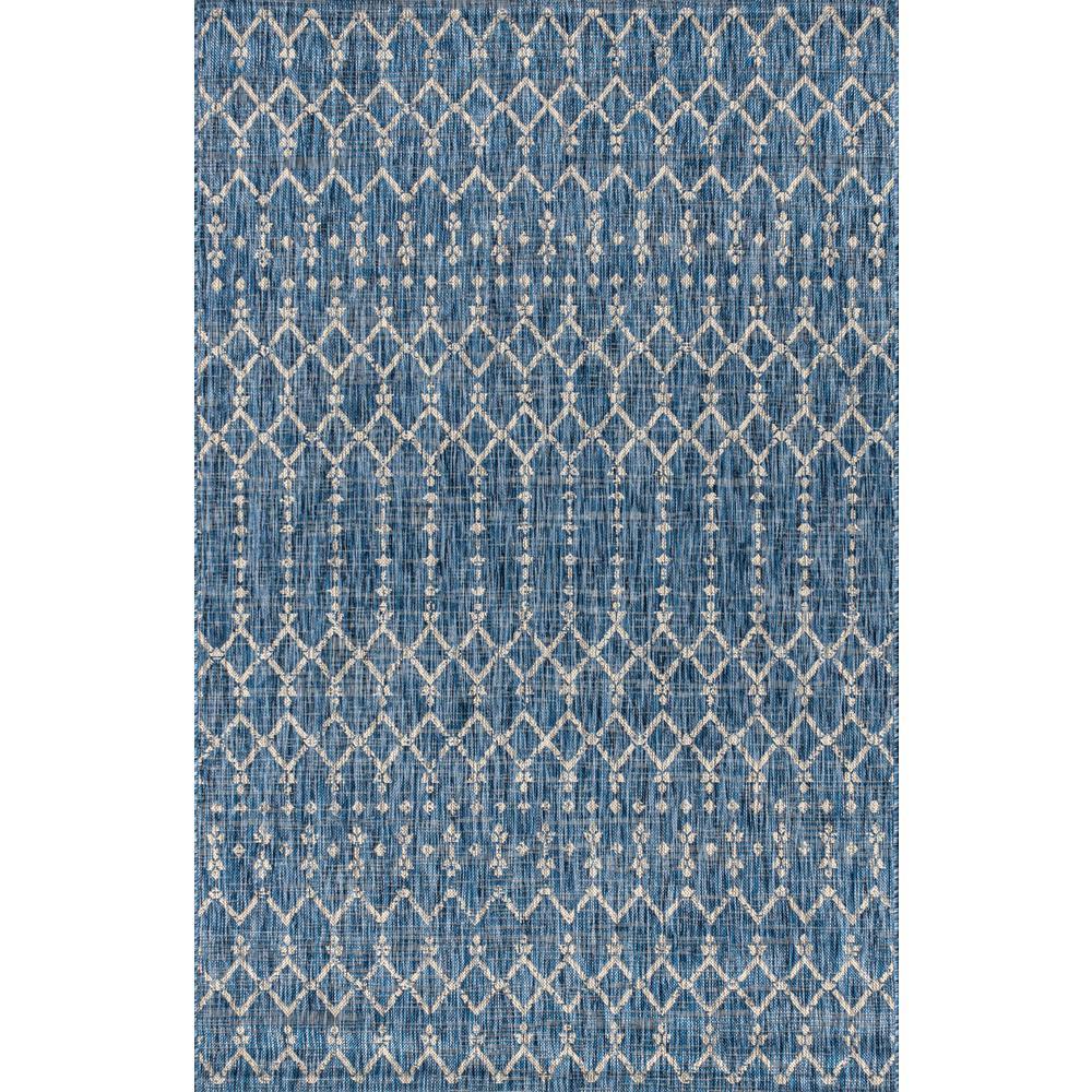 Ourika Moroccan Navy/Light Gray 3 ft. 1 in. x 5 ft. Geometric Textured Weave Indoor/Outdoor Area Rug