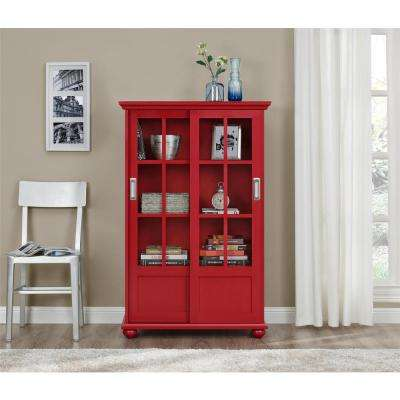 Aaron Lane Red Glass Door Bookcase