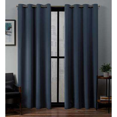 Sateen 52 in. W x 96 in. L Woven Blackout Grommet Top Curtain Panel in Vintage Indigo (2 Panels)