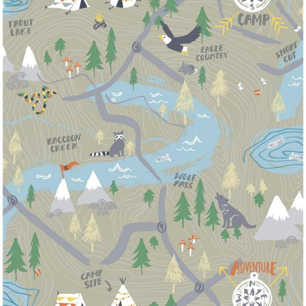 Wallquest Kids Campground Taupe Scenic Wallpaper