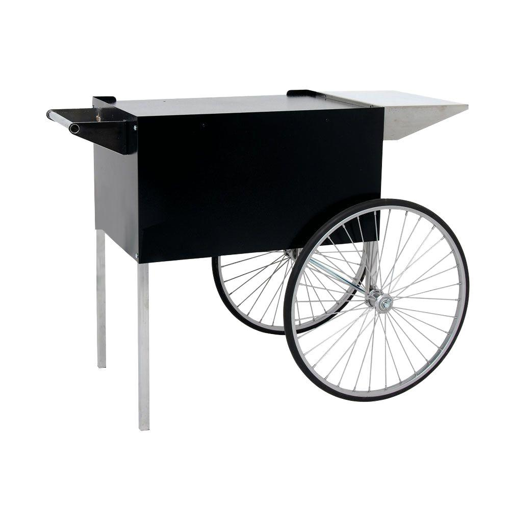 Paragon Professional 12 and 16 oz. Popcorn Cart, Black/Gloss Carts provide easier access, better merchandising and great mobility. The sturdy all steel construction has a chip resistant coating. Also features convenient built-in storage space and breaks down easily for storage and transportation. The matching carts and stands feature a special textured black powder-coat finish that contrasts and compliments the machine perfectly. Limiting cart/stand labeling to a simple stainless steel signature style plate carries the classic design throughout the entire unit. This design results in a classic, elegant look that will enhance the most up-scale room, while maintaining the same high-end commercial quality in home use or commercial concession environments. Color: Black/Gloss.