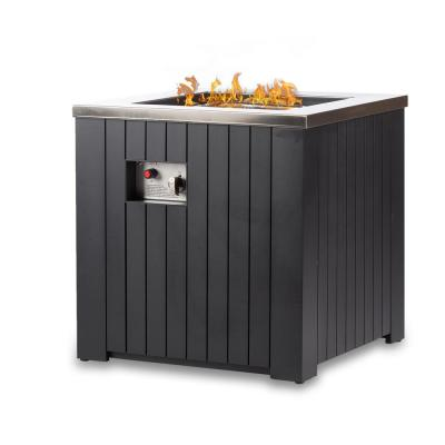 Maxwell 24 in. x 24 in. Square Stainless Steel Chat Propane Fire Pit Table With Cover