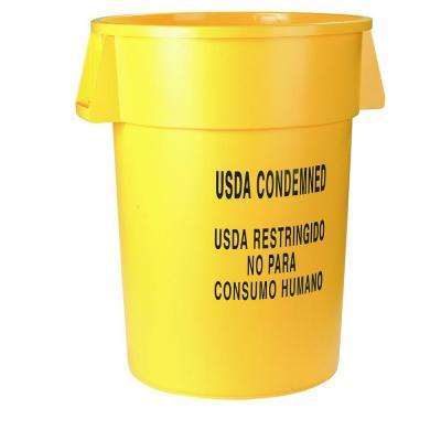 Bronco 20 Gal. Yellow Round Trash Can Imprinted with USDA Condemned (6-Pack)