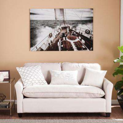 "32 in. H x 47 in. W ""Open Seas"" Glass Wall Art"
