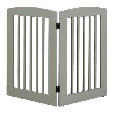 Ruffluv 36 in. H Wood 2-Panel Expansion Grey Pet Gate