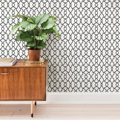 30.75 sq. ft. Black Clearly Cool Peel and Stick Wallpaper