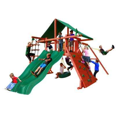 Sun Valley Extreme Wooden Playset with Green Vinyl Canopy and 2 Slides