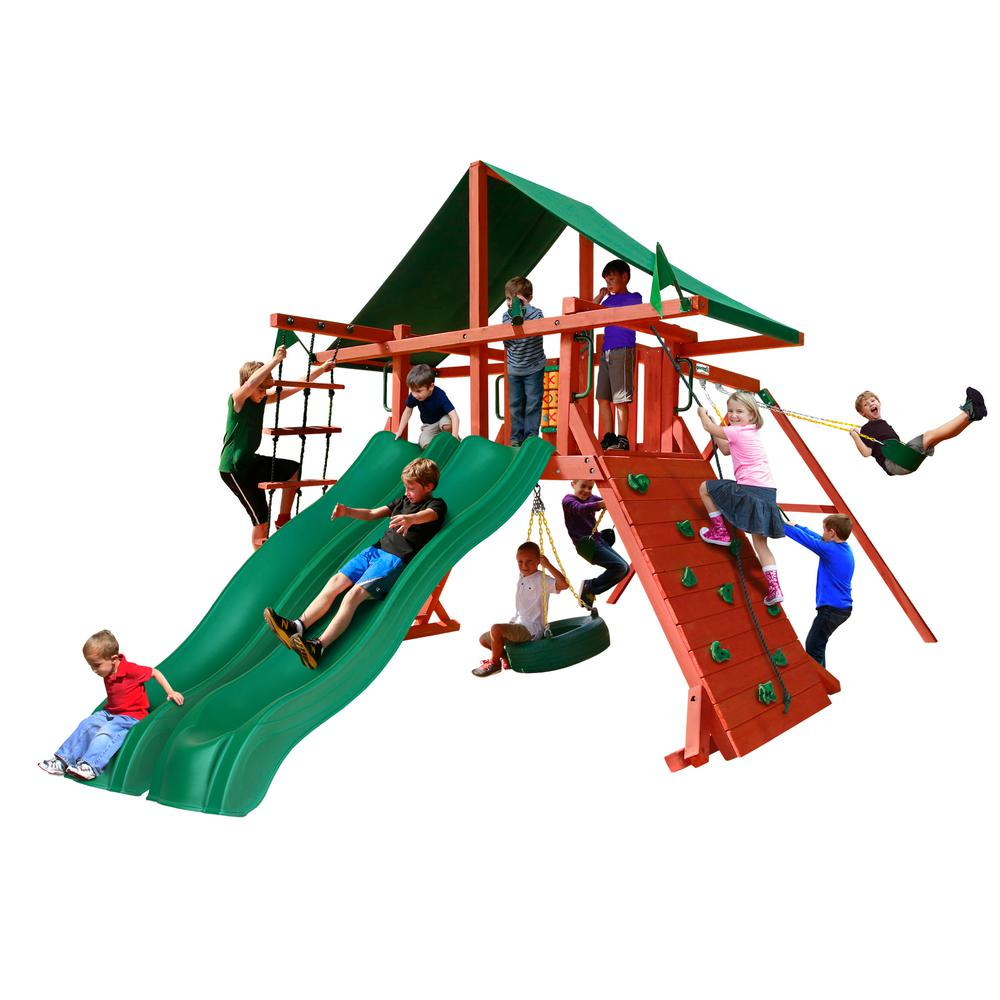 Gorilla Playsets Sun Valley Extreme Wooden Swing Set With Green Vinyl Canopy And 2 Slides