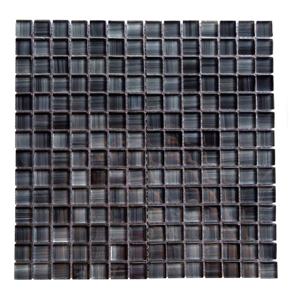Gray Mosaic 1 in. x 1 in. Glossy Glass Mesh Mounted