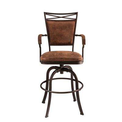 Bridgetown 30 in. Aged Bronze Cushioned Bar Stool