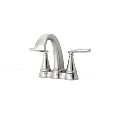 Somerville 4 in. Centerset 2-Handle Bathroom Faucet with Pop-Up Drain in Brushed Nickel