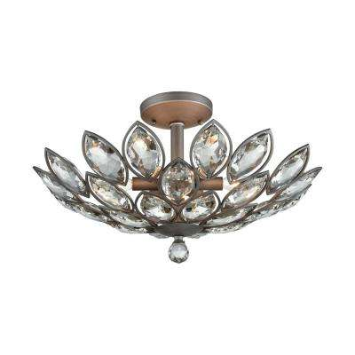 La Crescita 6-Light Weathered Zinc with Clear Crystal Semi-Flushmount