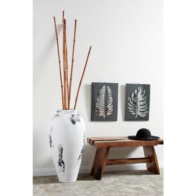 Black and White Stoneware Floor Decorative Vase with Textured Relief Detail