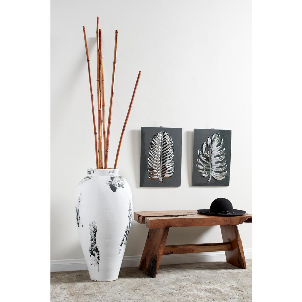 Litton Lane Black and White Stoneware Floor Decorative Vase with Textured Relief Detail
