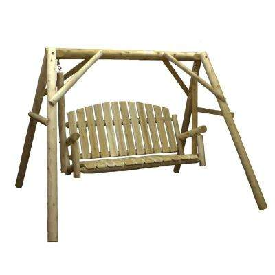 54 in. 3-Person Wood Outdoor Porch Swing and Stand Set