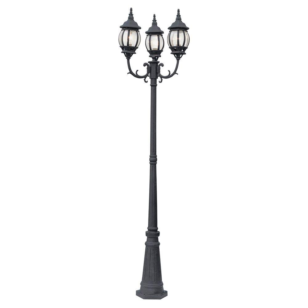 Exceptional Bel Air Lighting Filigree 3 Light Black Outdoor Lamp Post With Clear  Glass 4090 BK   The Home Depot
