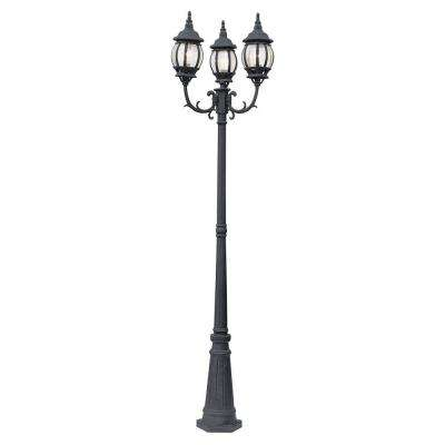 Filigree 3-Light Black Outdoor Lamp Post with Clear Glass