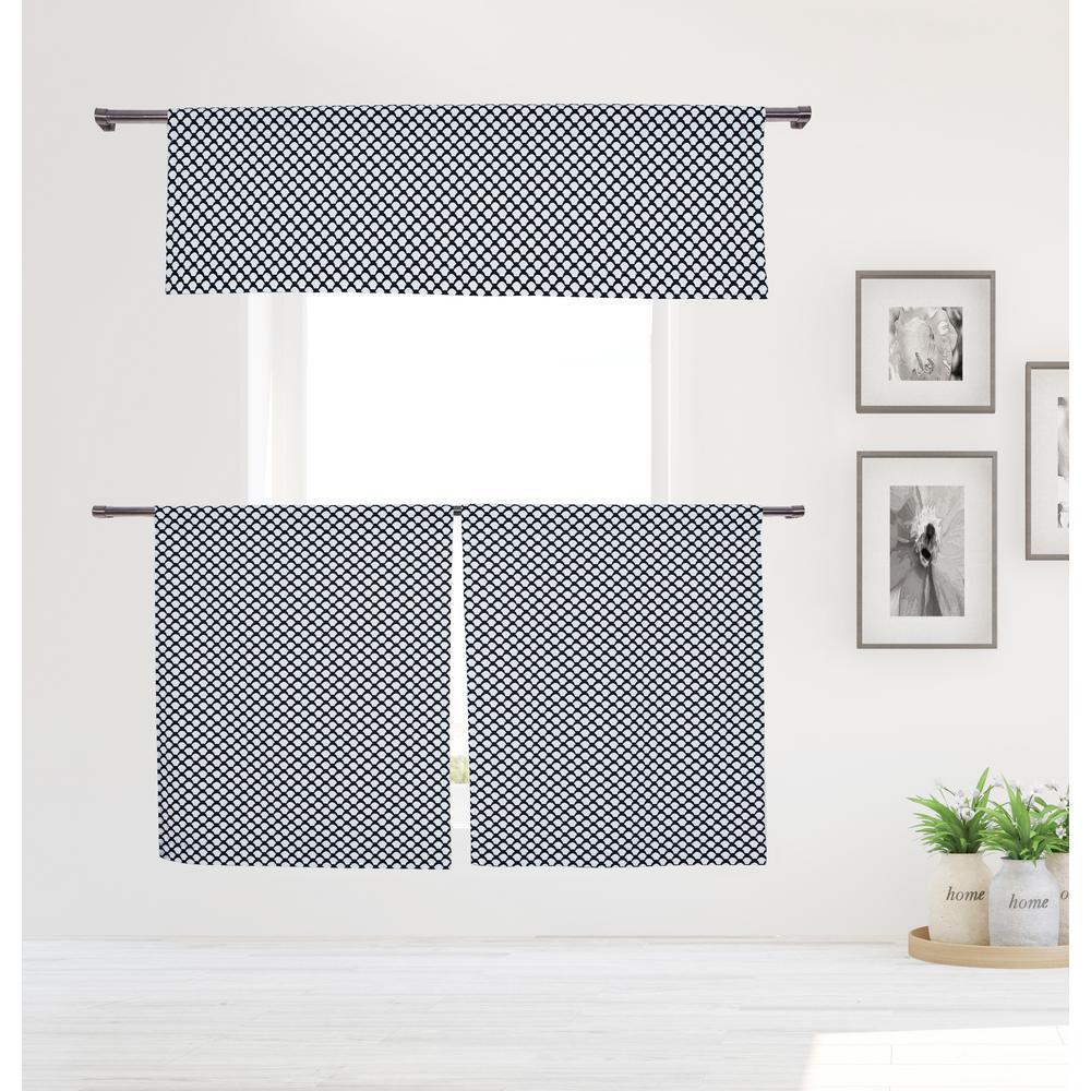 Medici 58 in. W x 15 in. L in Kitchen Curtain in Tiers/ Black 3-Piece