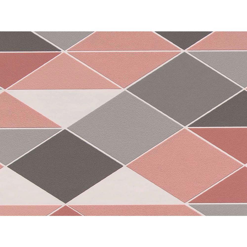 Rose & Grey Dwinding Diamonds Wallpaper