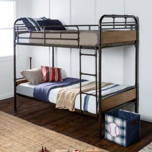 Urban Industrial Twin over Twin Metal Wood Bunk Bed - Black