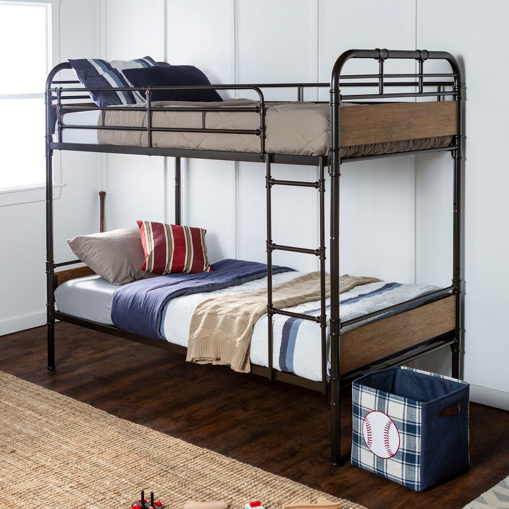 Urban Industrial Twin over Twin Metal Wood Bunk Bed - Black