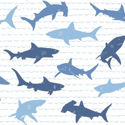 Shark Charades Paper Strippable Wallpaper (Covers 56 sq. ft.)