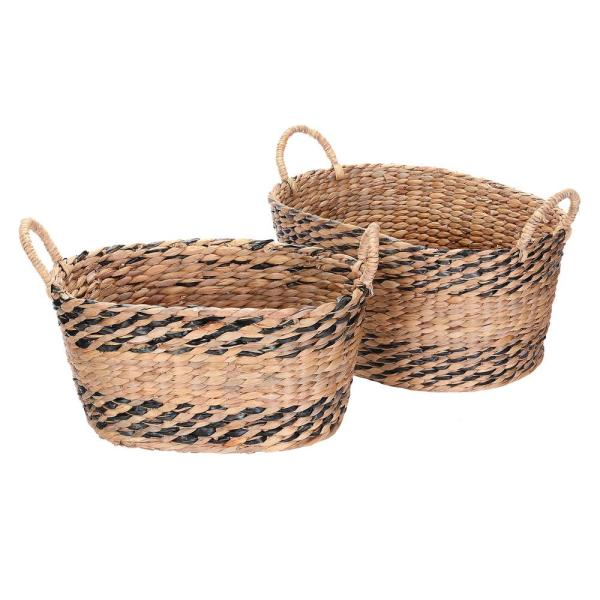 Villacera Black and Natural Handmade Water Hyacinth Twisted Wicker Oval Nesting