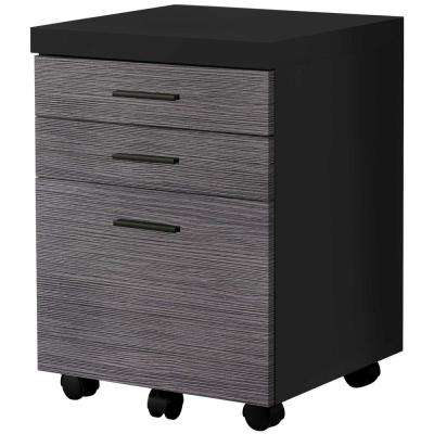 Jasmine 1-Piece Black and Grey Filing Cabinet