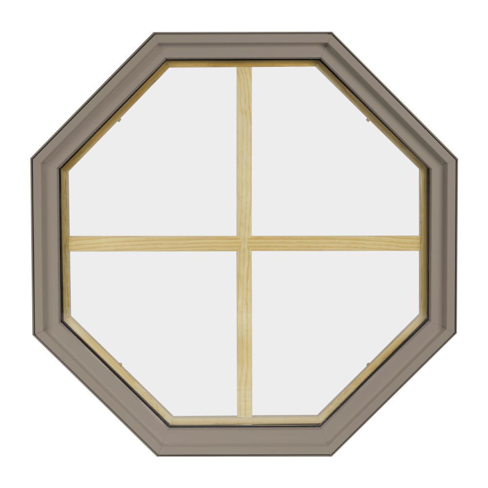 24 in. x 24 in. Octagon Sandstone 4-9/16 in. Jamb 4-Lite Grille Geometric Aluminum Clad Wood Window
