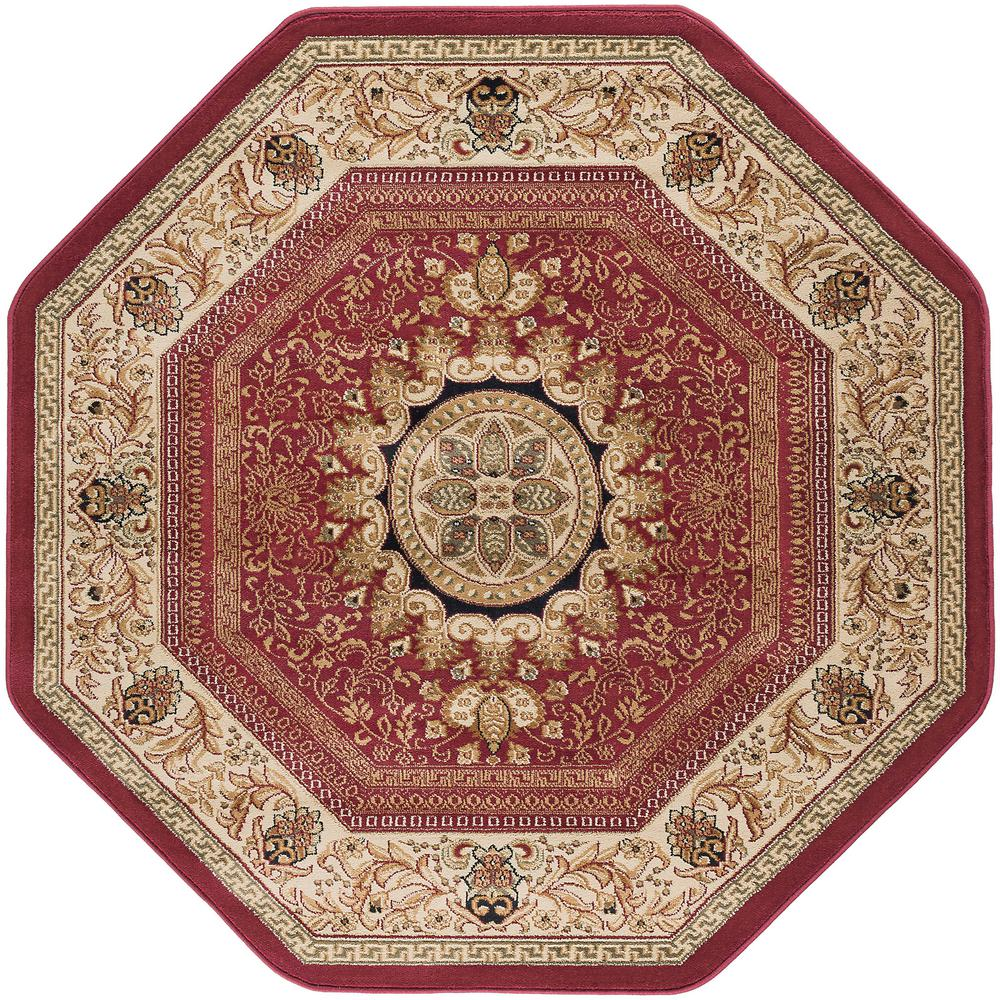 Tayse Rugs Sensation Red 7 Ft 10 In Traditional Octagon