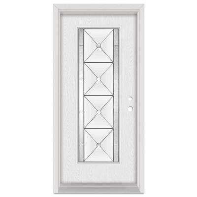 36 in. x 80 in. Bellochio Left-Hand Patina Finished Fiberglass Oak Woodgrain Prehung Front Door Brickmould